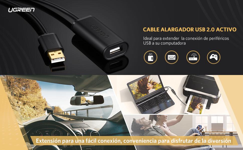 Cable Alargador USB 5 Metros, Ugreen Cable Extensión USB 2,0 ...