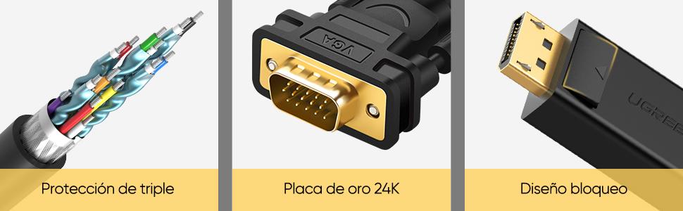 UGREEN Cable Adaptador DisplayPort a VGA Soporte 1080P