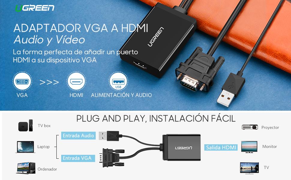 Ugreen® Adaptador VGA a HDMI 1920 x1080 60Hz con USB Soporte Audio y Cargador, Compatible con PC, Notebook, HDTV, proyector , Plug-and-play: Amazon.es: Informática