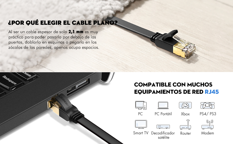 UGREEN 2 Unidades Cable de Red Cat 7, Cable Ethernet LAN 10000Mbit ...