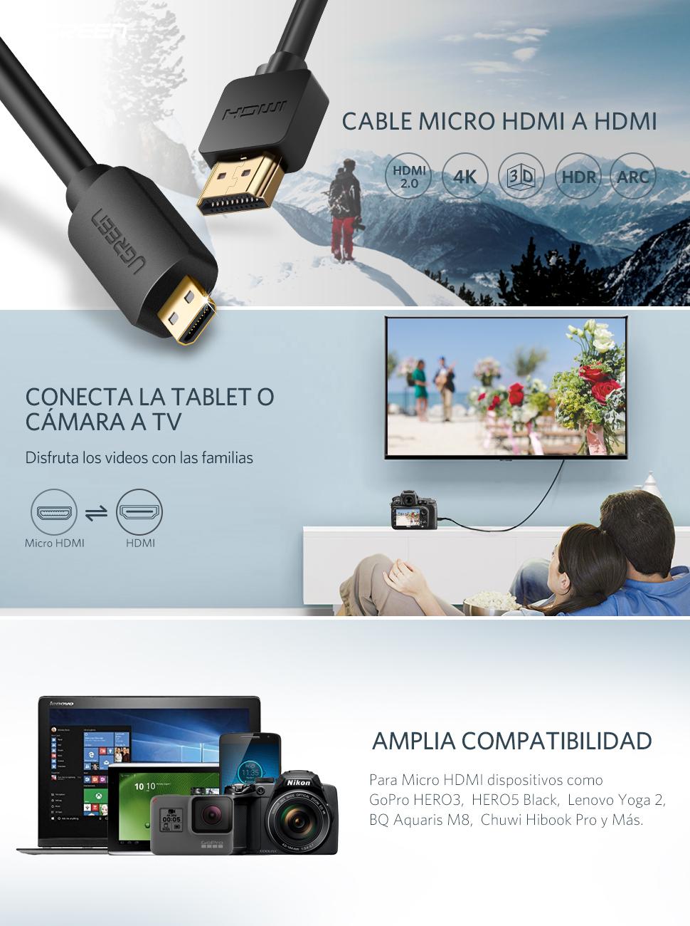 UGREEN Cable Micro HDMI a HDMI 3D 4K Alta Velocidad con Ethernet ...
