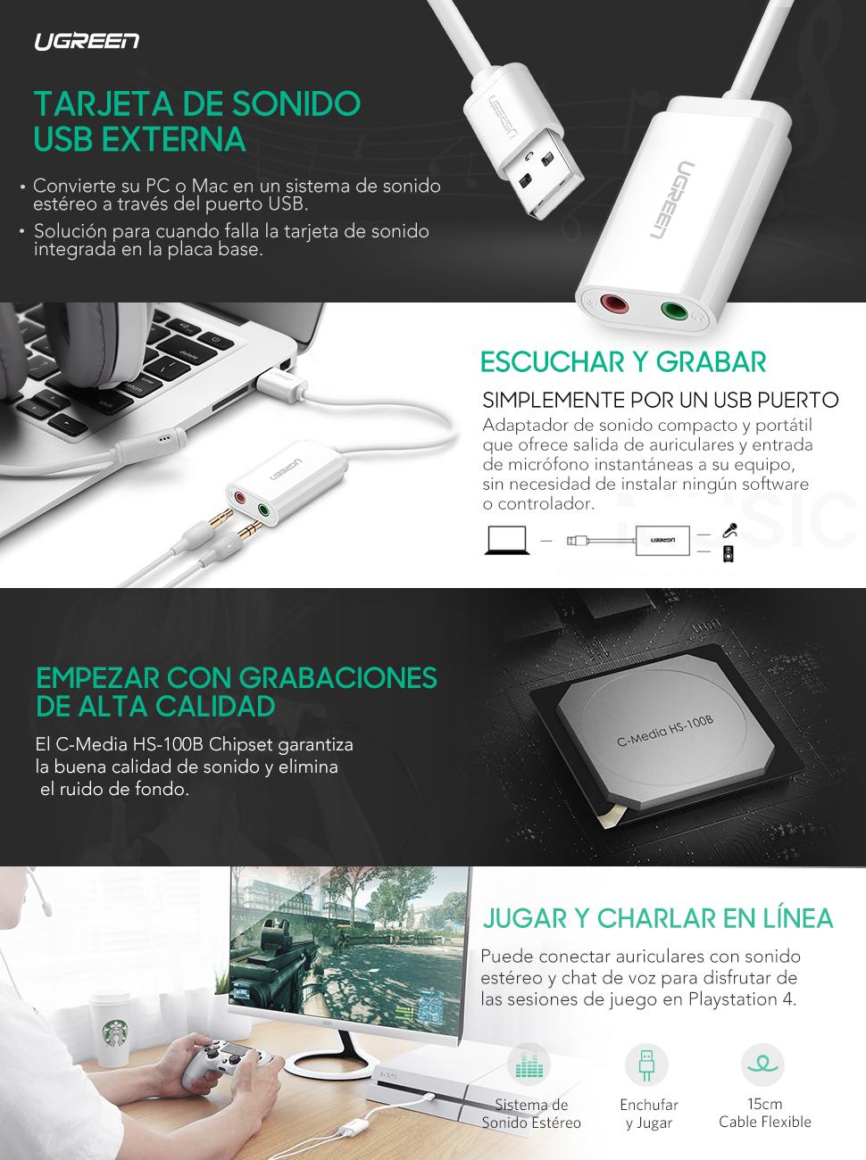 UGREEN Tarjeta de Sonido USB, Tarjeta de Sonido Externa Adaptador Audio y Micrófono 3.5mm para Altavoces, Auriculares y Micrófono