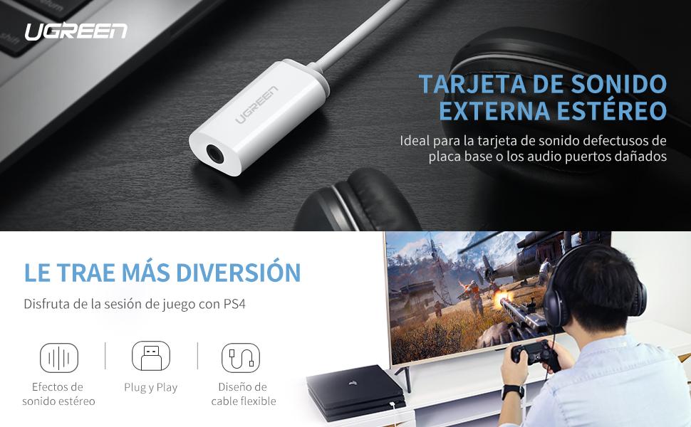 UGREEN Tarjeta de Sonido Externa, USB Adaptador de Audio External Sound Adapter con 3.5mm Jack para Micrófono, Altavoces y Auriculares, Compatible con ...