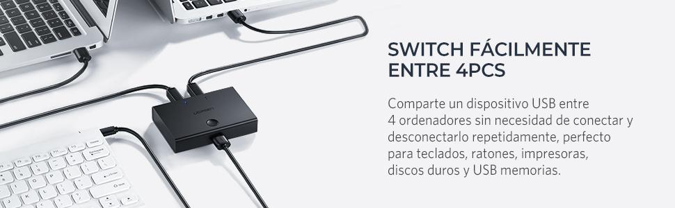 UGREEN 4x1 Conmutador USB 2.0 Switch para Impresoras, Escáneres, Plóteres, Compatible con Windows 10/8/ 7/ XP/Vista, Mac OS 8.6 y una versión Superior ...