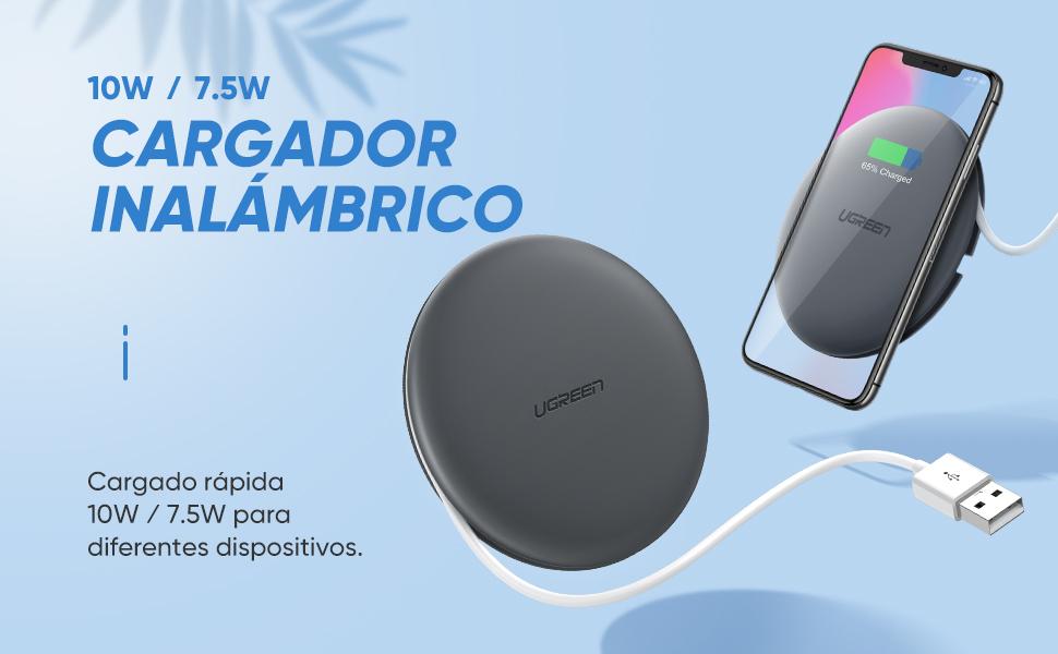 UGREEN Cargador Inalámbrico Rápido 10W Qi Base de Carga Inalámbrica Fast Wireless Charger para iPhone XR, XS, AirPods, Huawei P30 Pro, Mate 20 Pro, ...
