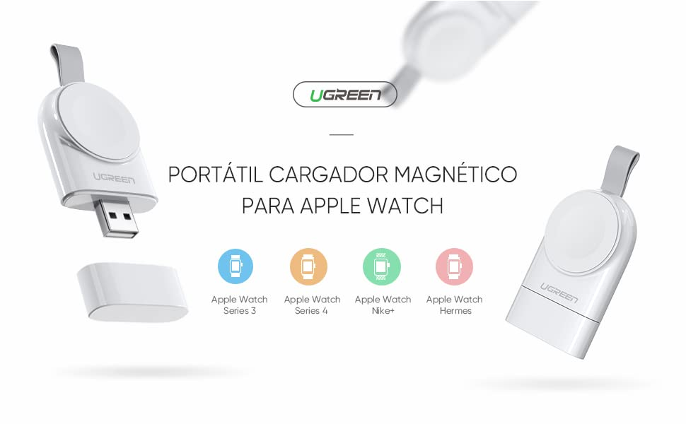 Cargador para Apple Watch (MFI Certificado), UGREEN Cargador Portátil Magnético iWatch, Base Carga Inalámbrica para Apple Watch Series 5/4/3/2/1, ...