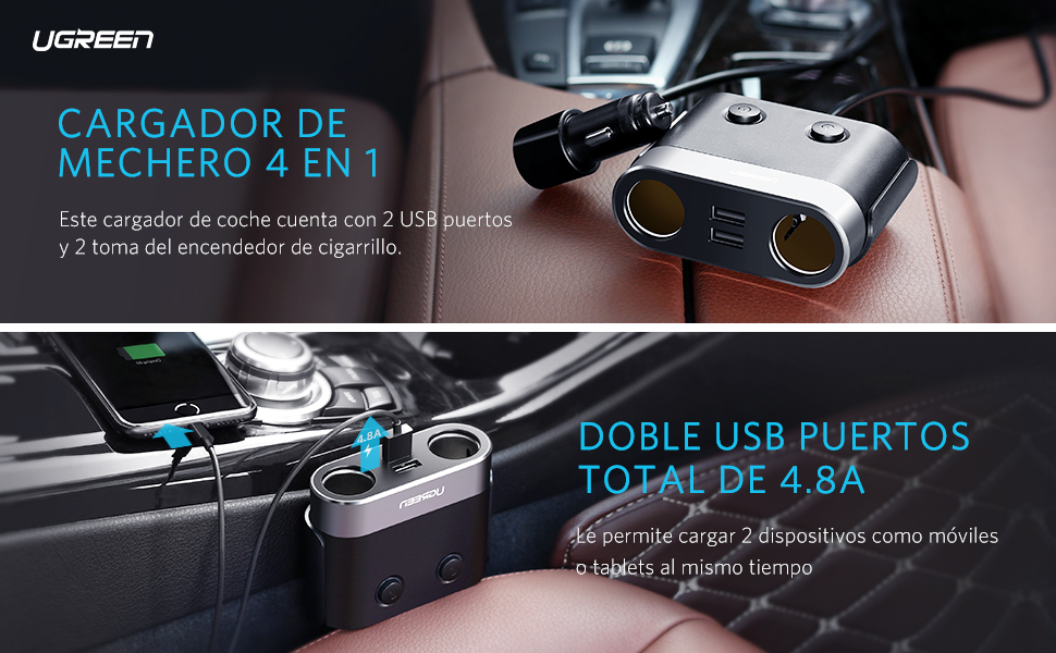 UGREEN Cargador de Coche, Cargador de Mechero con 2 Adaptador de Mechero Y 2 Puertos USB 12V / 24V, Cargador de Vehículos Universal para iPhone, ...