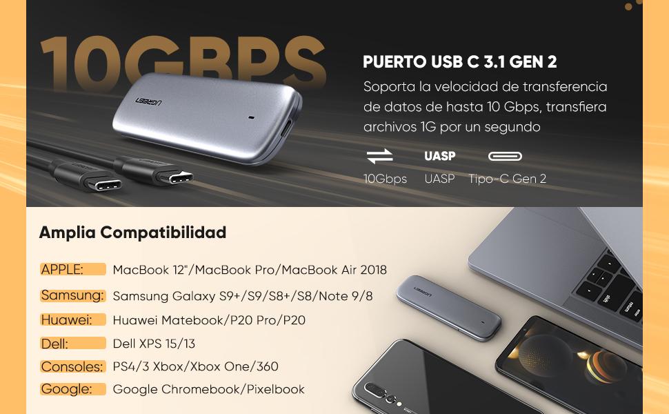 UGREEN Carcasa M.2 NVMe a USB C, Caja M.2 a USB Tipo C 3.1 para ...