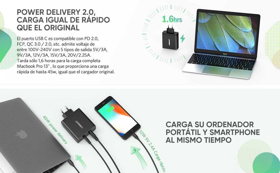 UGREEN Cargador PD 45W, Adaptador 57W Cargador Rápido PD 2.0 Power Delivery Tipo C y USB 5V 2.4A Soporte QC 3.0 para Macbook Pro, Lenovo Yoga 910, ...