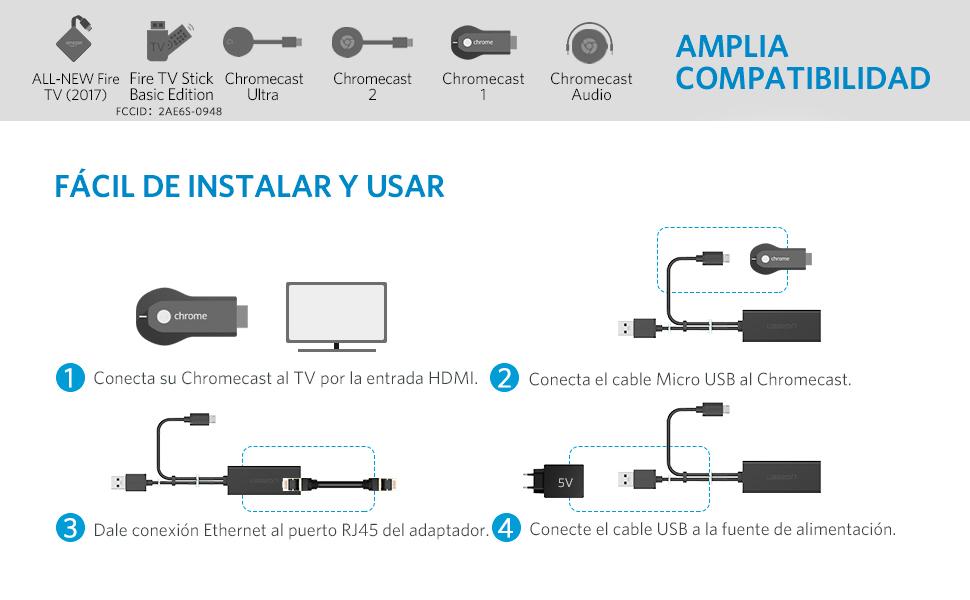 UGREEN Adaptador Micro USB a Ethernet RJ45, Adaptador de Red LAN 100Mbps Cable Adaptador para Google Chromecast 3/ Ultra/ 2/1/ Audio, TV Stick Basic, Convertidor RJ45 y USB Alimentación (1 Metro): Amazon.es: Electrónica