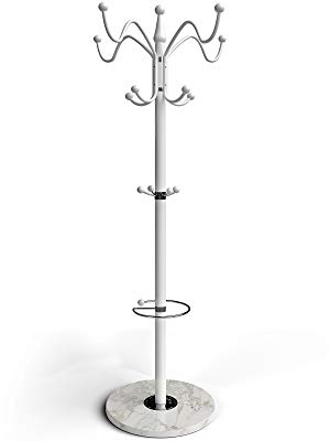 Deuba Perchero de pie con marmól Blanco 14 Ganchos y Paragüero 173 cm Estilo Elegante para Pasillo vestíbulo Oficina