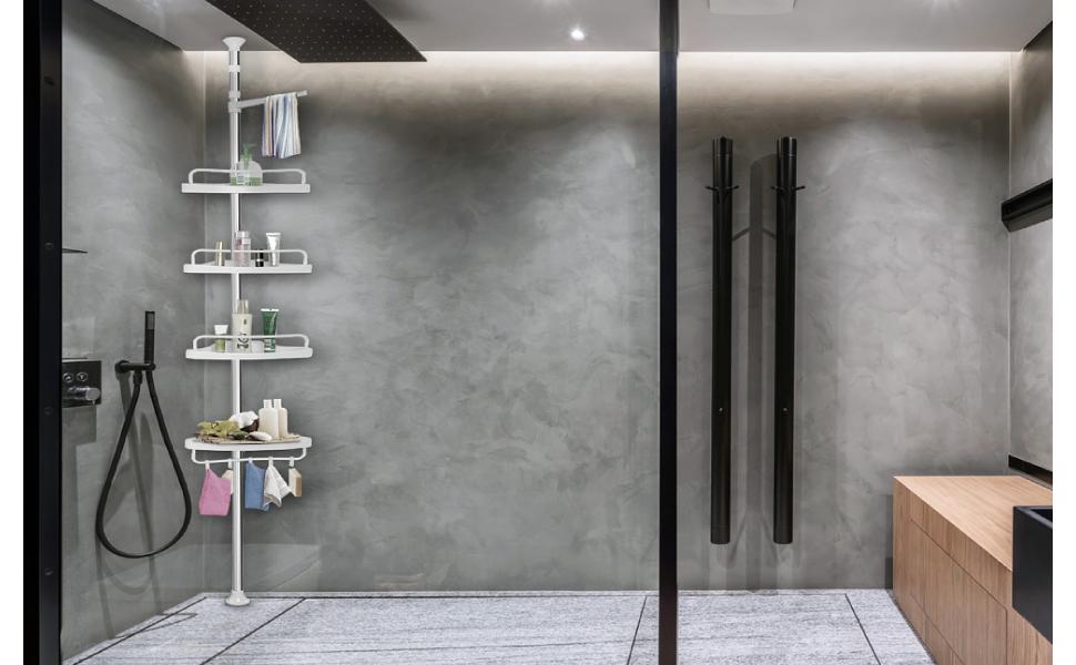 estantería de esquina para ducha y baño se encuentyra en un hammam polivalente