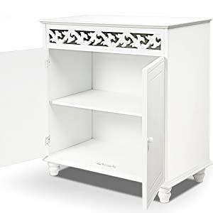 Deuba Cómoda de madera Blanco 2 estantes 2 puertas cajonera diseño rústico 76x65x35cm mueble de almacenaje y decoración