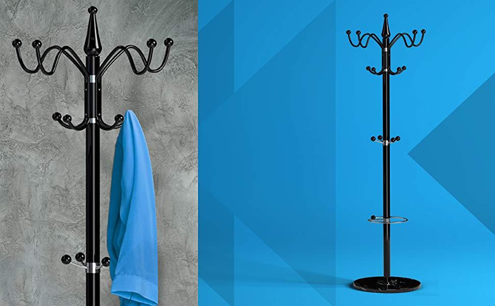 Deuba Perchero de pie con marmól Negro | 14 Ganchos y Paragüero | 173 cm | Estilo Elegante para Pasillo, vestíbulo