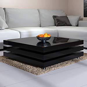 Deuba Mesa de Centro Moderna y Negra mesita lacada Brillante 60 x ...