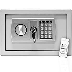 Deuba Caja Fuerte Seguridad Safe Plata Cierre electrónico 20 x 31 x 20 cm código de Seguridad Suelo Pared hogar Oficina: Amazon.es: Bricolaje y herramientas