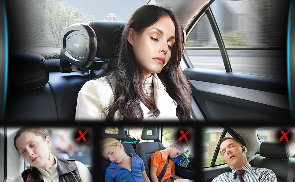 Auto Coj/ín Cuello Almohada Reposacabezas Plegable para Dormir en el autom/óvil para Adultos y ni/ños Reposacabezas Tryone Almohada de Cuello del Coche