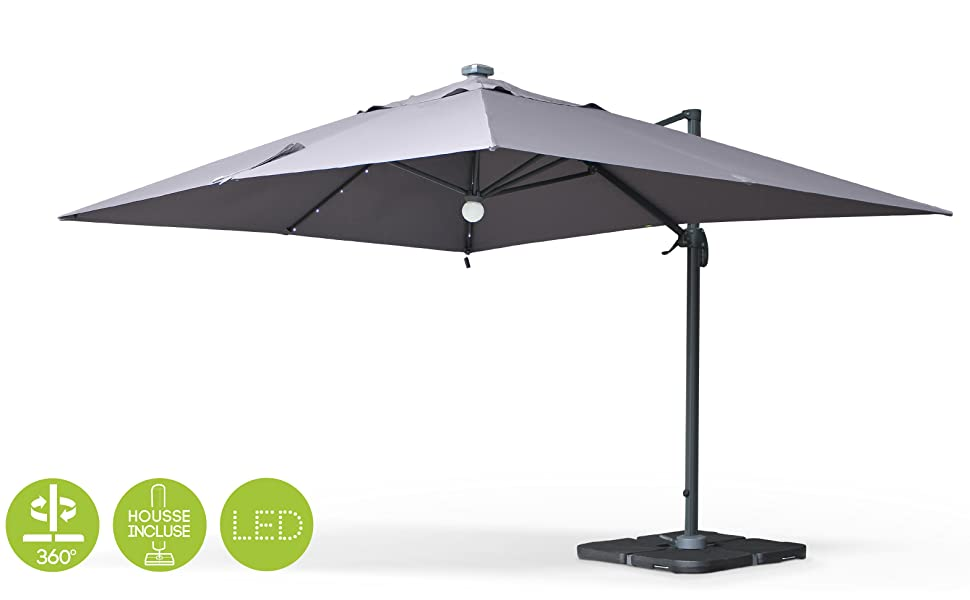 Alices Garden - Sombrilla, Parasol excentrico Rectangular, LED, Antracita Gris, 3x4m, Base giratoria - Luce: Amazon.es: Jardín