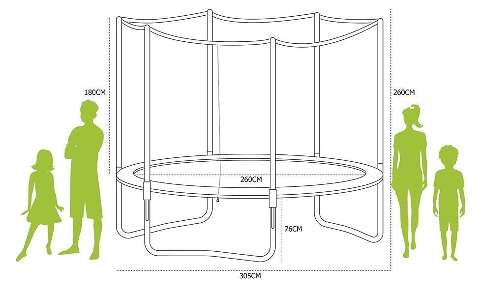 Alices Garden - Cama elastica, Trampolin de 305 cm, aguanta hasta ...
