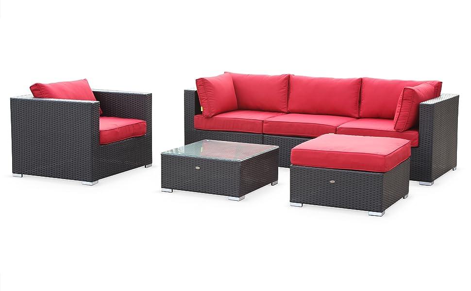 Alices Garden - Sofa De Jardin, Muebles De Exterior, Ratán Sintético, 5 Plazas Reales (Sofa 2m34), Cómodo (Profundidad 82cm + Espesor Cojines 12cm): Amazon.es: Jardín