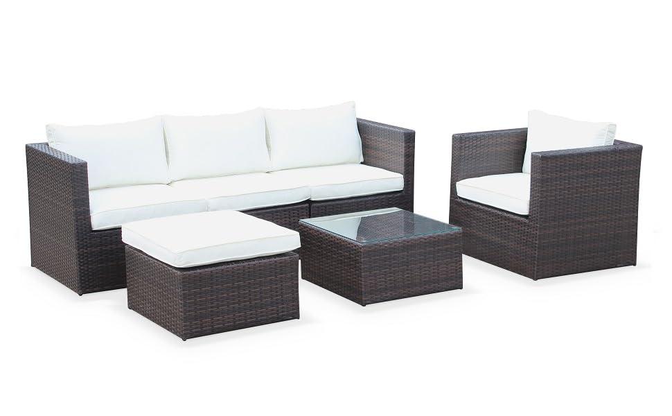 Alices Garden - Muebles de Jardin, Conjunto Sofa de Exterior, Marron Crudo, 5 plazas - Benito: Amazon.es: Jardín