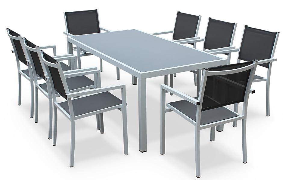 Alices Garden - Comedor de Jardin, Conjunto de Mesa y sillas de Aluminio y textileno - Blanco/Gris - 8 plazas - CAPUA 180: Amazon.es: Jardín