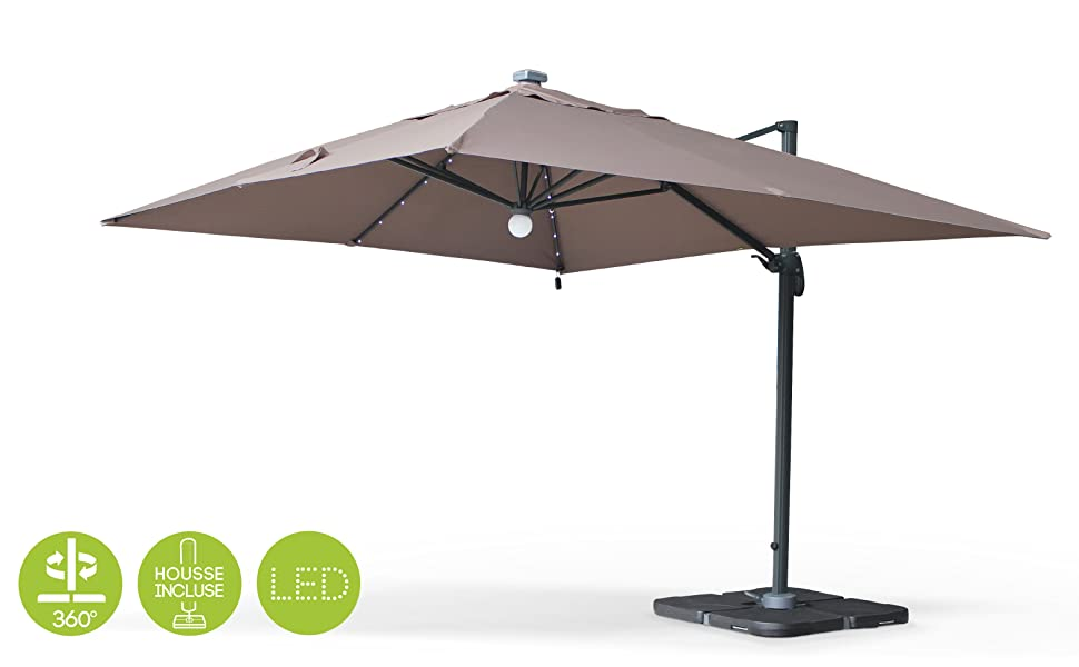 Alices Garden - Sombrilla, Parasol excentrico Rectangular, LED, Antracita Marron, 3x4m, Base giratoria - Luce: Amazon.es: Jardín