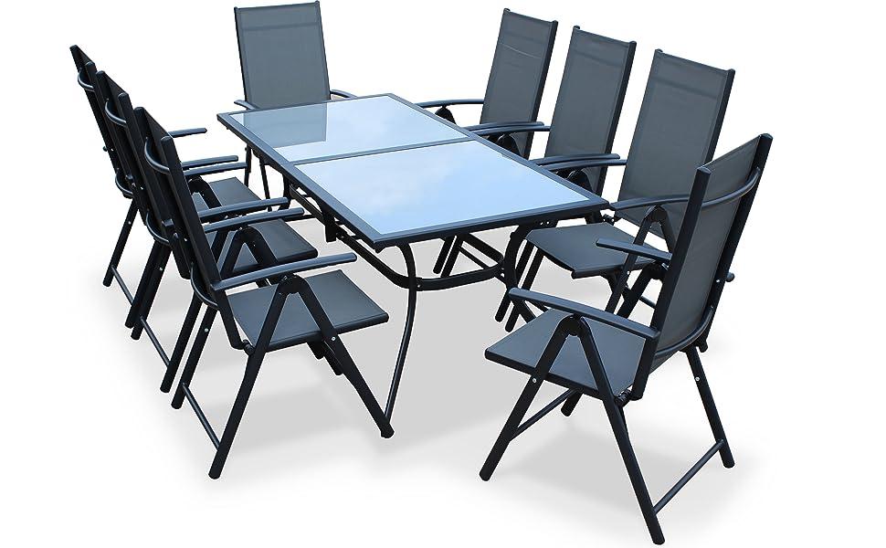 Alices Garden - Comedor de Jardin, Conjunto de Mesa y sillas de Aluminio y textileno - Antracita/Gris - 8 plazas - NAEVIA