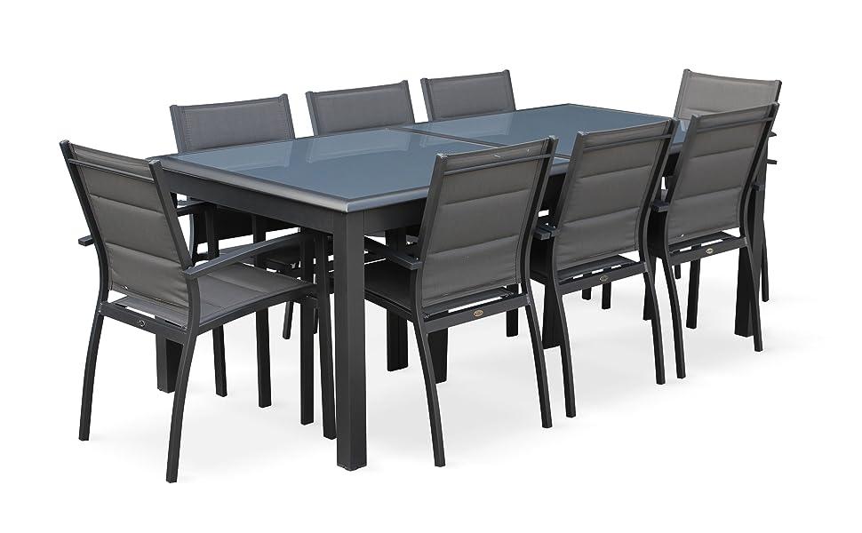Alices Garden - Conjunto de mesa de jardín con sus sillas, Aluminio, 8 plazas, Gris oscuro / Estructura Antracita, Philadelphie: Amazon.es: Jardín