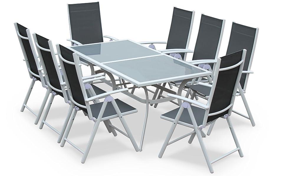 Alices Garden - Comedor de Jardin, Conjunto de Mesa y sillas de Aluminio y textileno - Blanco/Gris - 8 plazas - NAEVIA: Amazon.es: Jardín