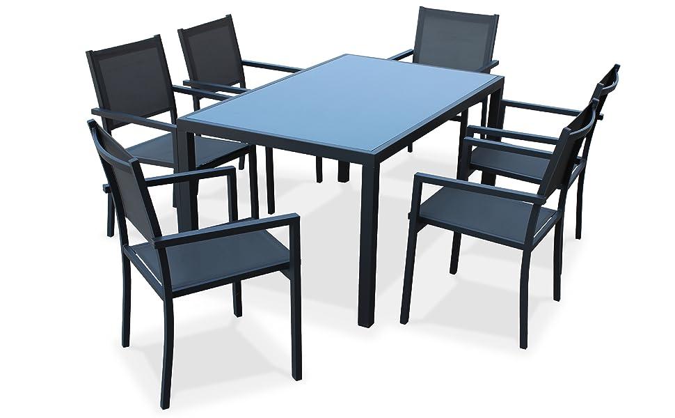 Alices Garden - Comedor de Jardin, Conjunto de Mesa y sillas de Aluminio y textileno - Antracita/Gris - 6 plazas - Capua: Amazon.es: Jardín