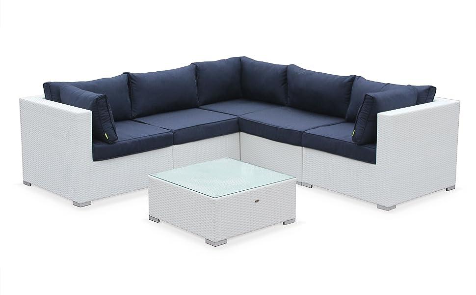 Alices Garden - Muebles de Jardin, Conjunto Sofa de Exterior, Blanco Azul, 5 plazas, Ratan Sintetico, Resina Trenzada - Napoli: Amazon.es: Jardín