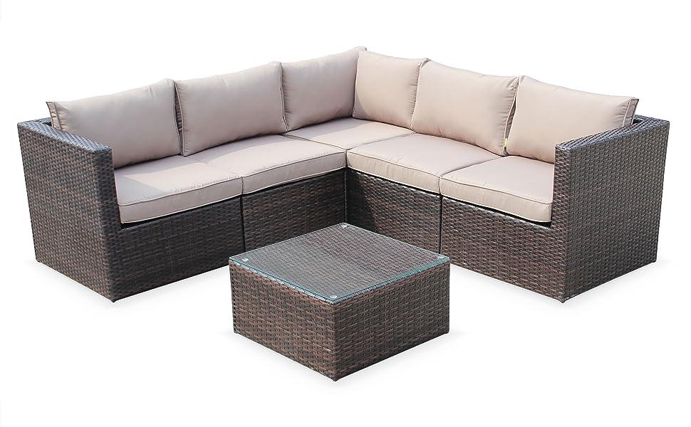 Alices Garden - Muebles de Jardin, Conjunto Sofa de Exterior, Marron Marron, 5 plazas - Siena: Amazon.es: Jardín