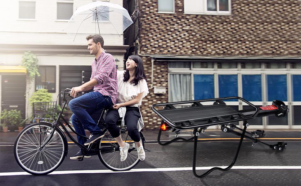 careslong Portabultos Bicicleta, Portaequipajes Bicicleta Ajustable Bicicleta Trasera Estante Capacidad de Carga máxima: 60 Libras Accesorios Bicicleta con Reflector: Amazon.es: Deportes y aire libre