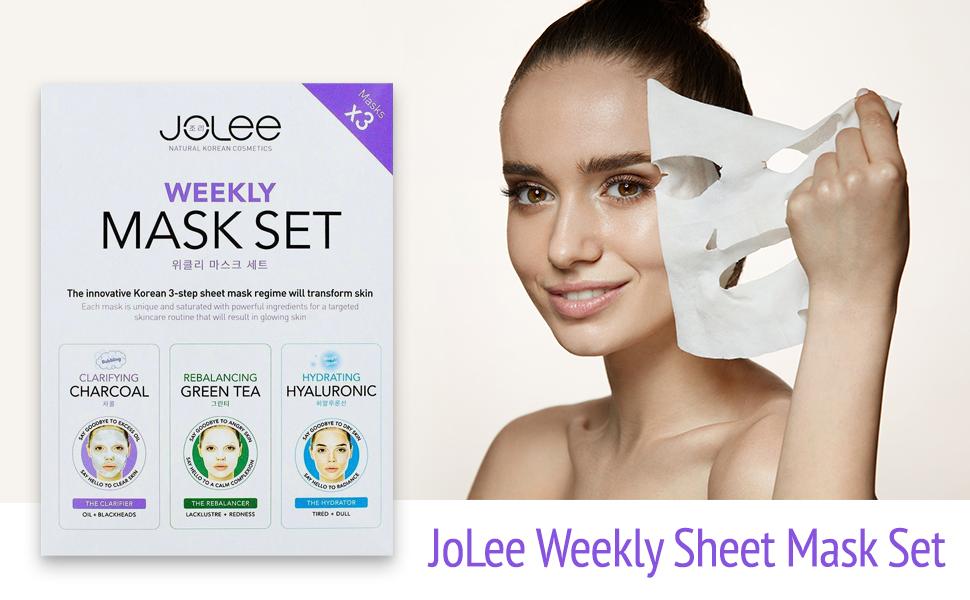 JoLee Mascarilla Facial Semanal, 3 Pack, Kit de Desintoxicación Facial con Mascarilla de Carbón Negro, Mascarilla de Té Verde y Colágeno, y Mascarilla de Gel de Ácido Hialurónico: Amazon.es: Belleza