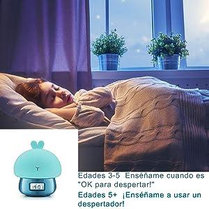 Owoda Despertado Luz de noche LED,Nocturna Bebé Lámpara 7 Colores, 11 Naturales Sonidos,Función de Grabación & Snooze, Remoto Control Digital ...