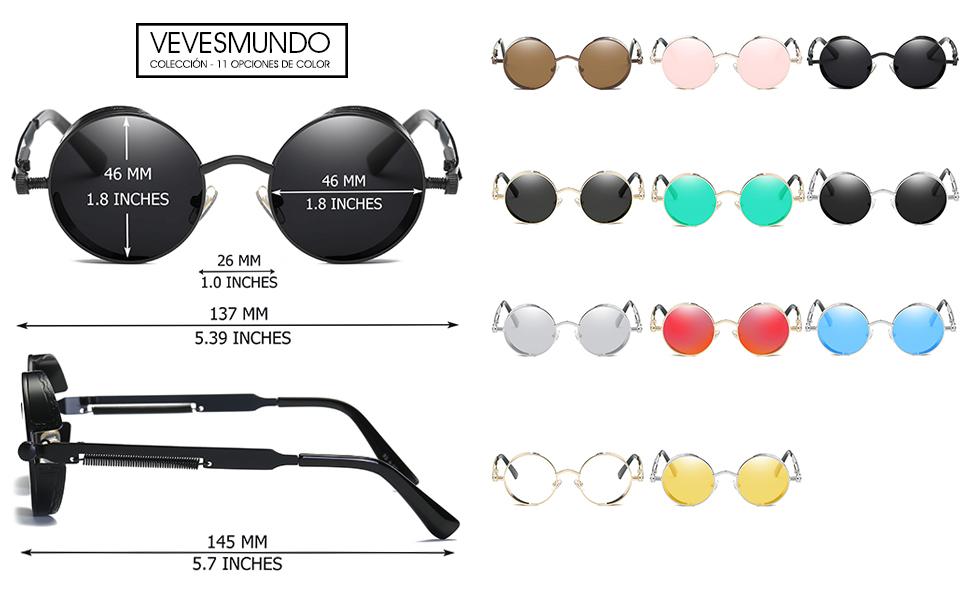 2b318b1860 UV Protección Anteojos de Sol Polarizadas Metalicas Redondas Gafas de  Tendencia Steampunk Para Hombres Mujeres