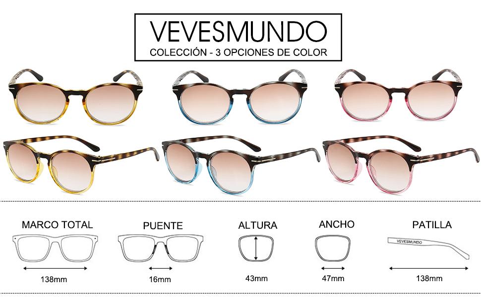 VEVESMUNDO Gafas de Lectura de Sol Moda Redondas Polarizadas ...