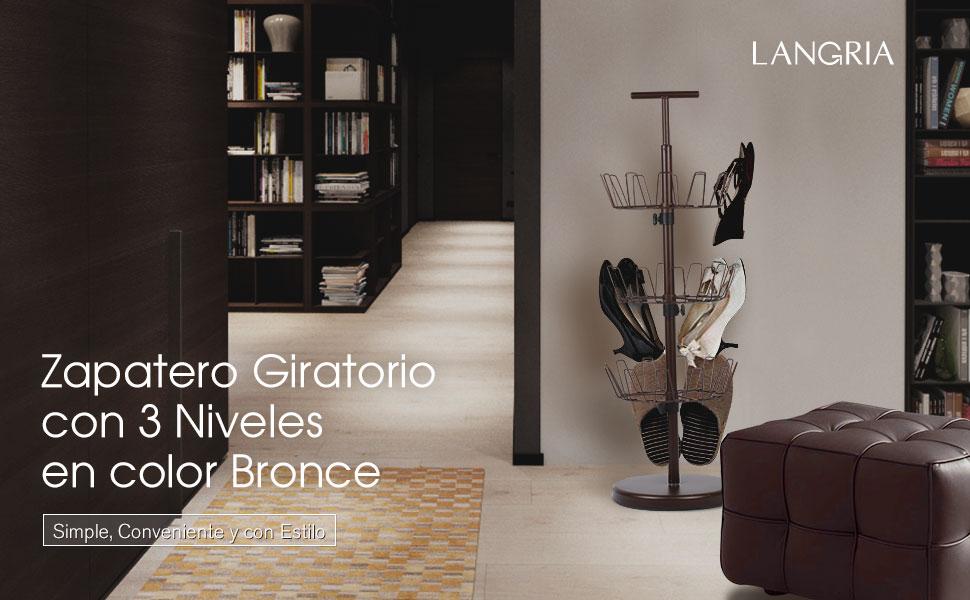 Langria Zapatero Giratorio Moderno Con Capacidad De Colgar 18 Pares De Zapatos Color Bronceado