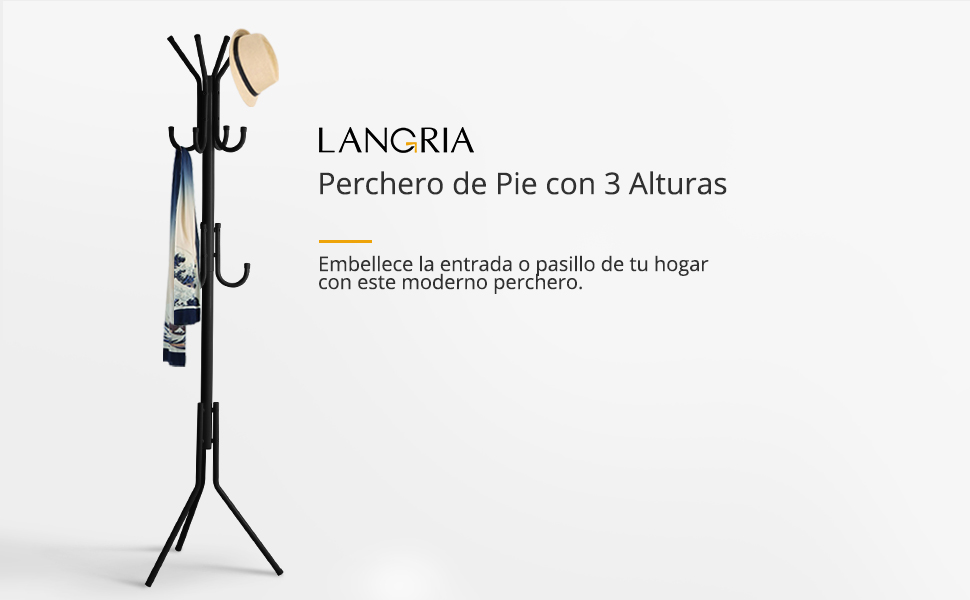 LANGRIA Perchero Metálico Árbol de Pie para Colgar Ropa en Garaje, Vestíbulo, Oficina y Armario, 11 Ganchos (Negro)