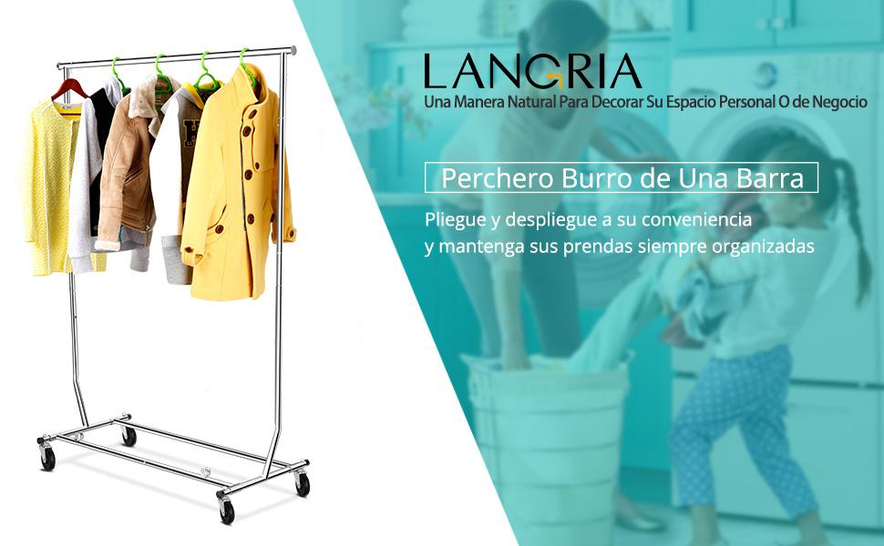 LANGRIA Perchero Burro Extensible y Ajustable con Ruedas para Colgar o Secar Ropa, Cromado (Una Sola Barra)