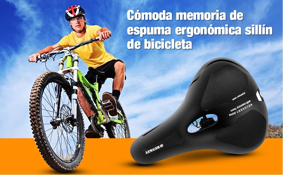 shenkey Sillín de Bicicleta, cómodo Asiento de Bicicleta Espuma de Memoria Cojín para Silla de Montar Acolchada, Reemplazo de sillín de Bicicleta ...