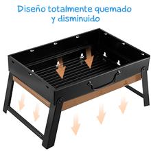 Mbuynow Barbacoa Portátil de Acero Inoxidable,Mini Barbecue con Rejilla Portátil Plegable Barbacoa de Exteriores (3-5 Personas) para BBQ, Picnic, ...