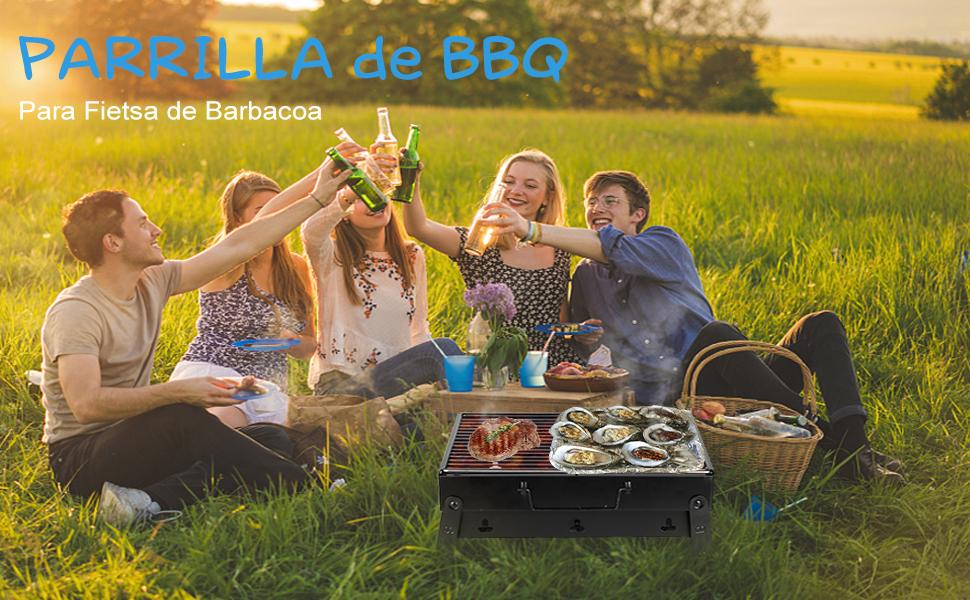 Mbuynow Barbacoa de Carbón Portátil con Parrillas y Pies Plegables para BBQ, Picnic, Acampadas, Camping