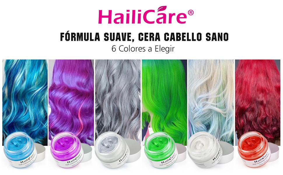 Cera Cabello, HailiCare 120g Cera Pelo Colorante Temporal PLarga Duración Hidratante DIY Colorear y Modelar el Cabello de Moda para Party Cosplay ...