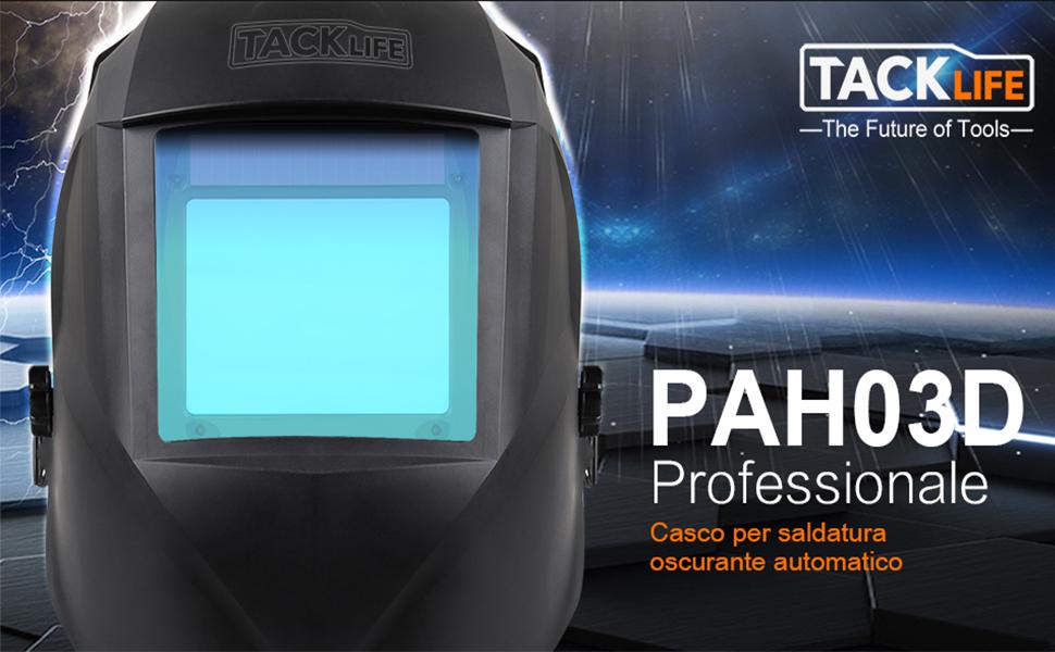 Casco de soldadura, Tacklife-PAH03D-Caretas para soldar 100*73 mm gran ventana, casco solar de 1/1/1/1 de Oscurecimiento Automaticamente 4 sensores ...