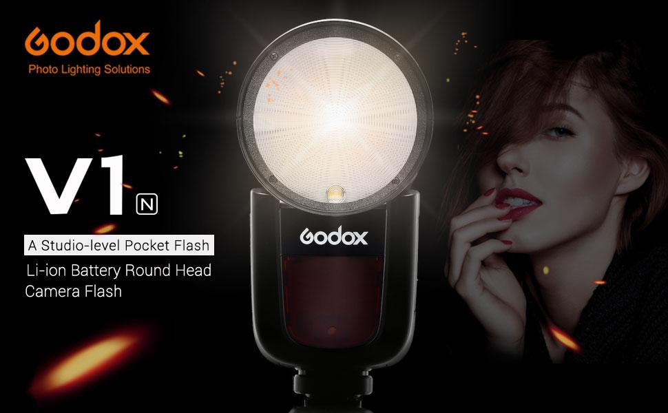 Godox V1-N 76W Round Head Speedlite Flash V1N TTL 1//8000s HSS 2600mAh Li-Battery with Godox AK-R1 Accessories Kit for Nikon