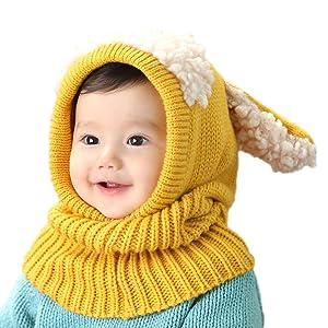 fe56735d3350e4 Amazon | iCasso カワイイ ベビーニット帽 ウサギちゃん 赤ちゃん キッズ ...