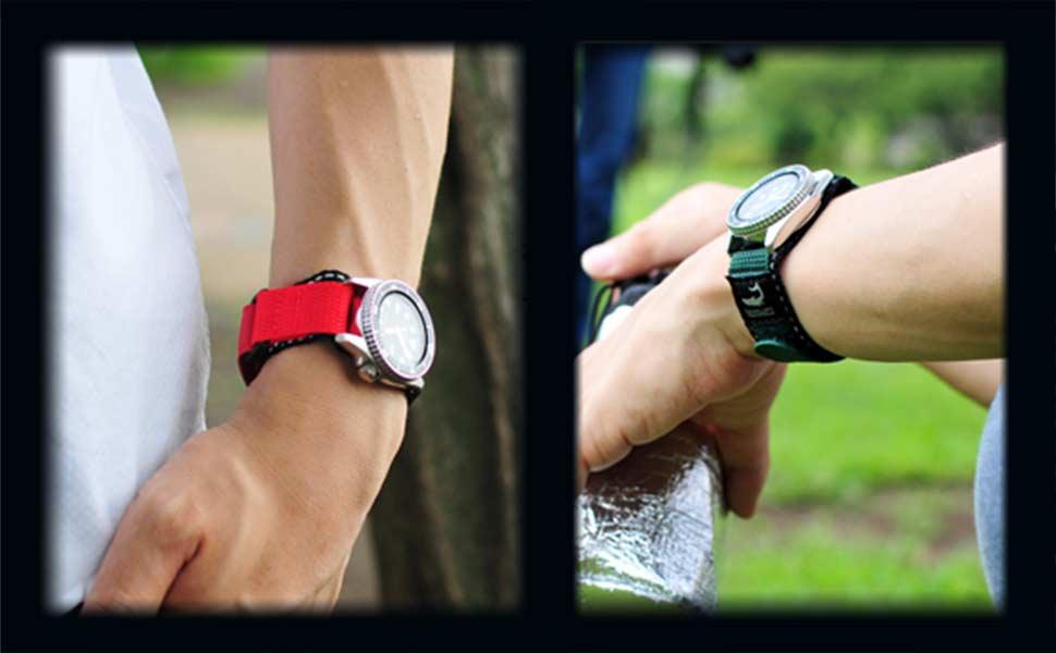 775b76438a ナイロン仕様の時計ベルトで時計の裏にバンドを通して装着するタイプのモデル。 装着時はマジックテープ使用になって いる為、長さの調節も無段階で行う事が出来ます。
