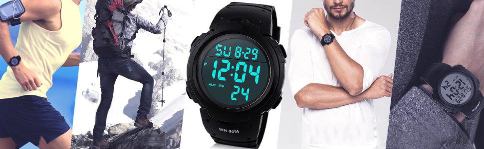fc16401d53 デジタル腕時計 メンズ 人気 大画面見やすい腕時計 時計 腕時計 メンズ led防水腕時計 スポーツ メンズ